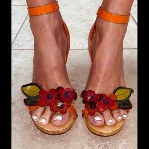 Miu Miu Sandals Patent & Suede Leather Flowers 37